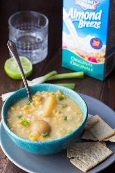 This slow cooker potato corn soup is an easy and deceptively healthy recipe that gets a boost of creaminess from Almond Breeze almond beverage, and a touch of heat from jalapenos! Only 160 calories/bowl!
