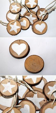 DIY wooden discs star and heart as Advent tags make yourself . - Make DIY wooden discs star and heart as an Advent pendant yourself DIY branch slices - Felt Christmas, Christmas Tree Ornaments, Christmas Crafts, Wooden Crafts, Wooden Diy, Christmas Centerpieces, Christmas Decorations, Decoration Branches, Diy Crafts To Sell