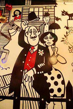 Cartoons by legendary artist Mario Miranda depicting cultures of Goa, India