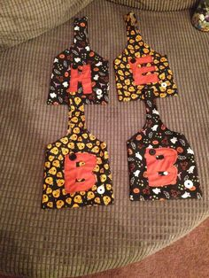 Halloween treat bags I made for the children with their initials on.