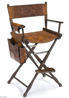 Have a seat: Hagman's custom-made leather director's chair from Dallas is expected to sell for $2,500 and $3,500