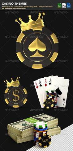 Casino Themes by makou 3D render of four Casino themes, isolated image 25002500 pixel dimension, psd file shadow and reflection on/off
