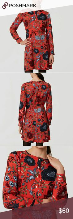 "Loft Petite Primavera Shirtdress In strikingly exotic florals, this fluid flare shirtdress sparks up the season. Round neck. Long sleeves with button cuffs. Button placket. Back zip. 20"" from natural waist. LOFT Dresses Midi"
