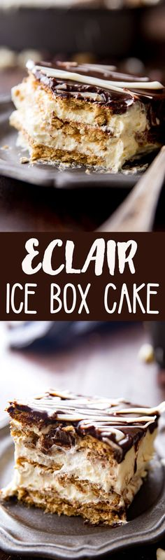 Delicious Eclair Ice Box Cake is the easiest ice box cake ever and soooo creamy delicious.