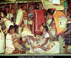 The Great City of Tenochtitlan, detail of women selling maize, 1945 - Diego Rivera - www.diego-rivera-foundation.org