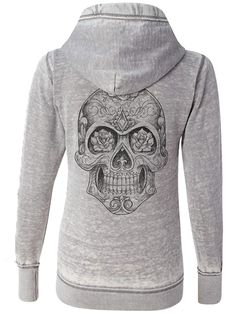 "Women's ""Sugar Skull"" Zip Up Hoodie by Fifty5 Clothing (Grey)"