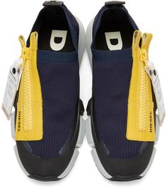 Diesel - Navy & Yellow S-Padola Sneakers Sneakers Fashion Outfits, Fashion Shoes, Fashion Accessories, Shoes Sneakers, Adidas Shoes Women, Custom Shoes, Leather Shoes, Designer Shoes, Diesel