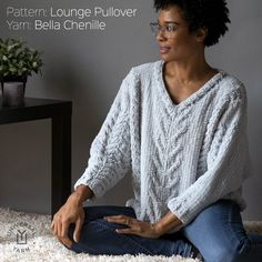 The soft and roomy Lounge Pullover in Universal Yarn Bella Chenille is knit from the bottom up in pieces. Knitting Patterns Free, Free Pattern, Universal Yarn, Knitwear, Knit Crochet, Lounge, Knitting Sweaters, Pullover, Sewing
