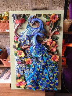 I am so envious of this person's talent and whoever gets to own this. I like peacocks. Is this paper art or polymer clay? Just beautiful! Clay Wall Art, 3d Wall Art, Art Quilling, Quilling Designs, Art Mural 3d, Polymer Clay Kunst, Plaster Art, Sculpture Painting, Paper Sculptures