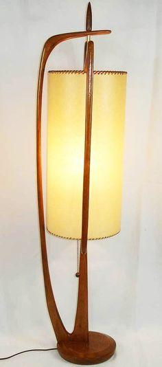 Mid-Century Modern •~• vintage MCM Danish teak table lamp