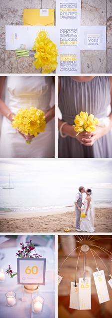 Yellow + gray wedding in Puerto Rico
