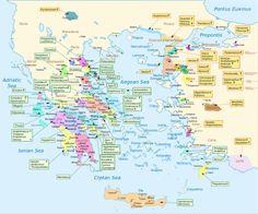 Greek Leaders in the Trojan War. Map of part of the history of Greece. Greek History, Ancient History, Sea Peoples, Greece Map, Classical Greece, Trojan War, Trojan Horse, Mycenaean, Greek Mythology