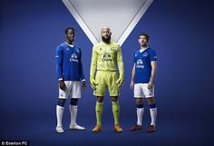 Romelu Lukaku, Tim Howard and Leighton Baines show off the new Everton kit for the 2015/16...