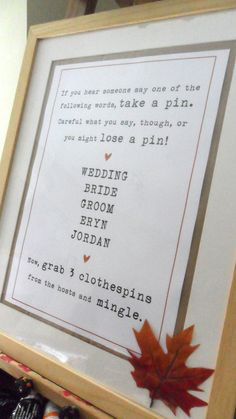 everyone gets 3 clothespins lose a clothespin when you say forbidden words wedding shower