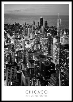 Chicago Poster in der Gruppe Prints / Maps & cities bei Desenio AB - CHICAGO wall art - Fotografie Black And White Photo Wall, Black And White Posters, Black And White Aesthetic, Chicago Poster, London Poster, Chicago Photography, City Photography, Photo New York, Poster Photo