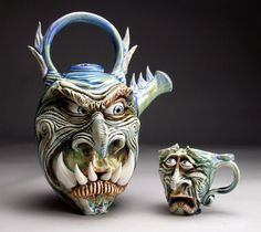 Mitchell Grafton - Monster Teapot and Teacup Ceramic Sculpture - All of his sculptures are stunning
