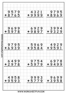 4 Digit Addition With Regrouping – Carrying – 9 Worksheets / FREE Printable Worksheets – Worksheetfun Subtraction With Regrouping Worksheets, Printable Multiplication Worksheets, 4th Grade Math Worksheets, Addition And Subtraction Worksheets, Alphabet Worksheets, Worksheets For Kids, Math Sheets, Fourth Grade Math, Homeschool Math