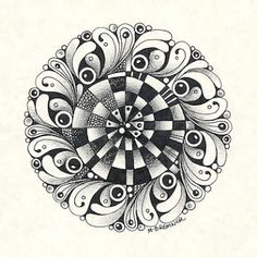 At the center: Striped Snail  |  Zentangle Tangle unpublished  |   Other tangles: Black Pearlz, Caviar, Phuds  |  Margaret Bremner (c)2013; www.enthusiasticartist.blogspot.com
