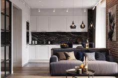Diszkrét tárolóhelyek, üvegfalak, letisztult berendezés - 48m2-es egyszobás lakás szép burkolatokkal