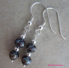 Handcrafted cultured peacock grey pearl sterling silver dangle earrings #Dangle