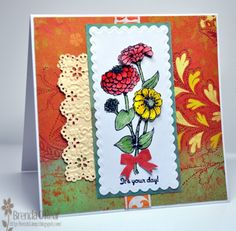 Zinnias For Your Day-For Queen Mary by Benzi - Cards and Paper Crafts at Splitcoaststampers....Cased card by Mary aka MaryR917 on Splitcoaststampers