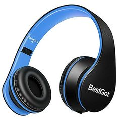 Upgraded Version] BestGot Over Ear Kids Headphones for Kids Boys Adult with microphone In line Volume, Included Cloth Bag , Foldable Headset with 3.5mm plug removable cord (Black/Blue) #Upgraded #Version] #BestGot #Over #Kids #Headphones #Boys #Adult #with #microphone #line #Volume, #Included #Cloth #Foldable #Headset #plug #removable #cord #(Black/Blue)
