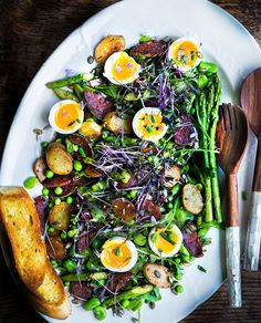 Spectacular Spring Salad - Asparagus, Avocado, Greens, Potatoes, Eggs Beans etc..