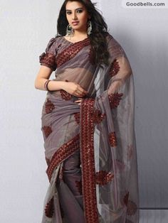 Classic Grey & Maroon Embroidered Saree | $105.00 | http://goodbells.com/saree/classic-grey-maroon-embroidered-saree.html