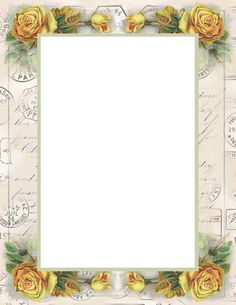 """Lilac & Lavender: Friendship Stationery ~ """"Yellow Roses, Letter and Postmark Border"""". Papel Vintage, Vintage Cards, Vintage Paper, Printable Frames, Printable Paper, Free Printable, Stationary Printable, Frame Flores, Decoupage"""