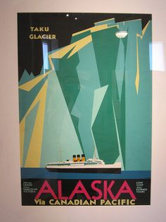 """from the """"Away We Go!"""" exhibit of vintage travel posters of the 1920's and 30's, at the Boston Public Library."""