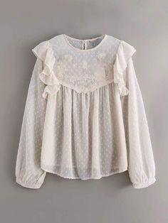 Swiss Dot Ruffle Trim Embroidery Sheer Mesh Blouse for Sale Australia Cheap Blouses, Blouses For Women, Pop Fashion, Fashion News, Swiss Dot, Chiffon Shirt, Blouse Online, Ruffle Trim, Types Of Sleeves