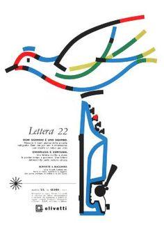 Locandina pubblicitaria di Giovanni Pintori, graphic designer, per la macchina per scrivere portatile Lettera 22, pubblicata su riviste e quotidiani italiani nel 1959 e nel 1960.