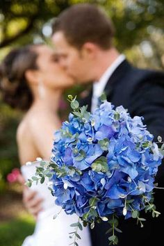 ideas for wedding bouquets eucalyptus blue hydrangea Blue Hydrangea Wedding, Hydrangea Bouquet Wedding, Eucalyptus Bouquet, Bridal Bouquet Blue, Purple Wedding Bouquets, Bride Bouquets, June Flower, Wedding Flower Guide, Trendy Wedding