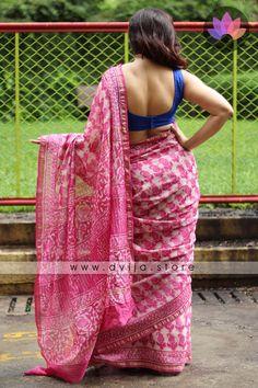 Handblock Printed Chanderi Silk Saree by Dvija Chanderi Silk Saree, Silk Sarees, Beautiful Saree, Beautiful Indian Actress, Saree Backless, Saree Poses, Sexy Blouse, Sleeveless Blouse, Blue Blouse
