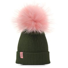 Lux Watermelon Fur Pom Beanie ($45) ❤ liked on Polyvore featuring accessories and hats
