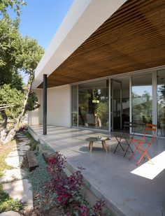 Terrace with wooden ceilings
