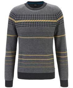 BOSS - Regular-fit sweater with blocked houndstooth in cotton blend Sweater Outfits, Men Sweater, Hugo Boss Man, Houndstooth, Black Denim, Man Shop, Mens Fashion, Burberry Men, Gucci Men