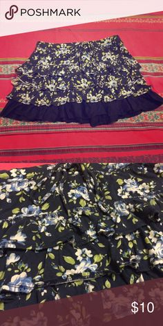 Gilly Hicks Blue Floral Ruffled Skirt Size S Make an offer 😉 Gilly Hicks Skirts Mini