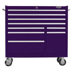 The Original Pink Box – Purple 41 Inch 9-Drawer Rolling Cabinet