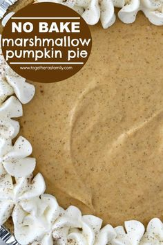 No Bake Marshmallow Pumpkin Pie 1 bag oz) large marshmallows 1 cup pure pumpkin 1 teaspoon cinnamon teaspoon pumpkin pie spice teaspoon salt 1 carton oz) Cool Whip (thawed) 1 store-bought graham cracker crust No Bake Pumpkin Cheesecake, No Bake Pumpkin Pie, Baked Pumpkin, Pumpkin Dessert, Pumpkin Pies, Healthy Pumpkin, Cheesecake Recipes, Pumpkin Cream Pie, Cheese Pumpkin