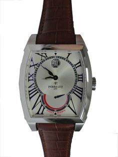 Stainless steel gent`s Perrelet Tonneau wristwatch with power reserve, ref #A1017.   http://www.liveauctioneers.com/item/25627322_mens-stainless-steel-perrelet-power-reserve-watch