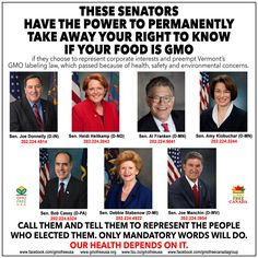 Demand Mandatory Labeling: Our Health Depends On It These 7 Senators hold our future in their hands. One of them will likely cast the deciding vote on S.2609, a bill that would preempt Vermont's mandatory labeling law and prevent the mandatory labeling of GMO foods in the U.S. http://www.tsu.co/GMOFreeUSA/116796228