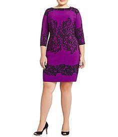 Adrianna Papell Plus PlacePrintLace Sheath Dress #Dillards