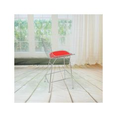 Mod Made Chrome Wire Counter Stool with red cushion for island