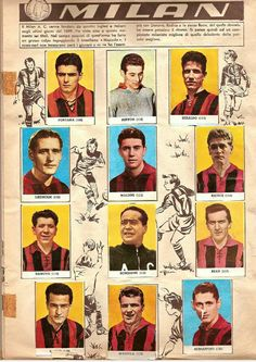 AC Milan team stickers for 1958-59.