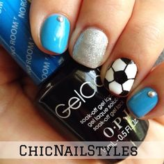 Soccer Nails for Real St. Read about my first experience as a soccer mom, this amazing blue gel polish, and the hardest nail art design I've ever done. Gorgeous Nails, Love Nails, Pretty Nails, Fun Nails, Perfect Nails, Soccer Nails, Football Nails, Sport Nails, Blue Nail Designs