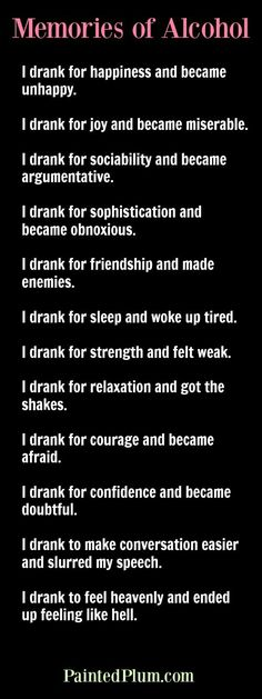 Memories of Alcohol - reading this is ALWAYS a good reminder of what life was like.