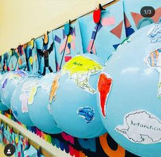 My gal pal did the cutest lesson this week! Her kiddos colored cut and glued continents onto balloons to create globes. Continents Activities, Geography Activities, Geography For Kids, Teaching Geography, Preschool Activities, Teaching Kids, Kids Learning, Geography Classroom, Geography Quotes