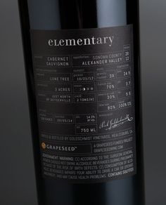 Elementary Wine Package Design Back Label | Sterling Creativeworks - Wine back label design for a winemaker who thinks at the molecular level. We used the periodic table as our inspiration. Awarded a Double Gold Medal for label design in the 2016 San Francisco International Wine Competition.