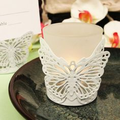 """Amazon.com - """"Latticed Butterfly"""" Pink Butterfly Shaped Steel Candle/Card Holder with Glass Cup and Tea Light Candle - 6 pc -"""
